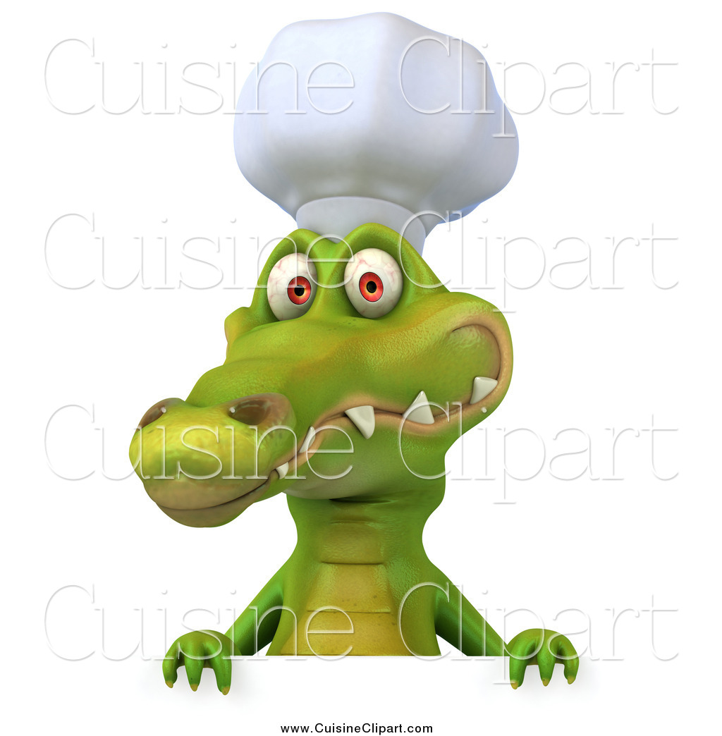 Cuisine clipart of a 3d chef crocodile smiling over a sign for Cuisine a crocs
