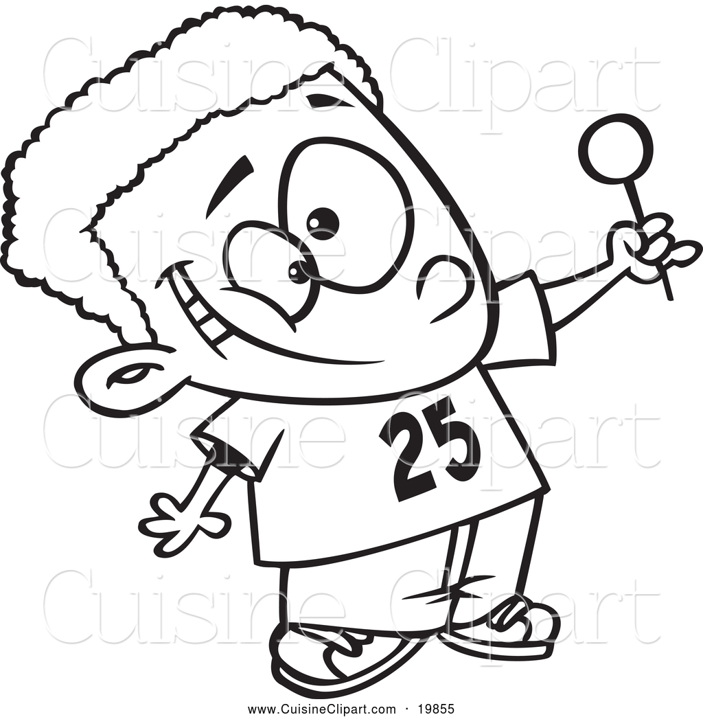 Cuisine Clipart of a Black and White Outlined Happy Black Boy ... for Clipart Lollipop Black And White  165jwn