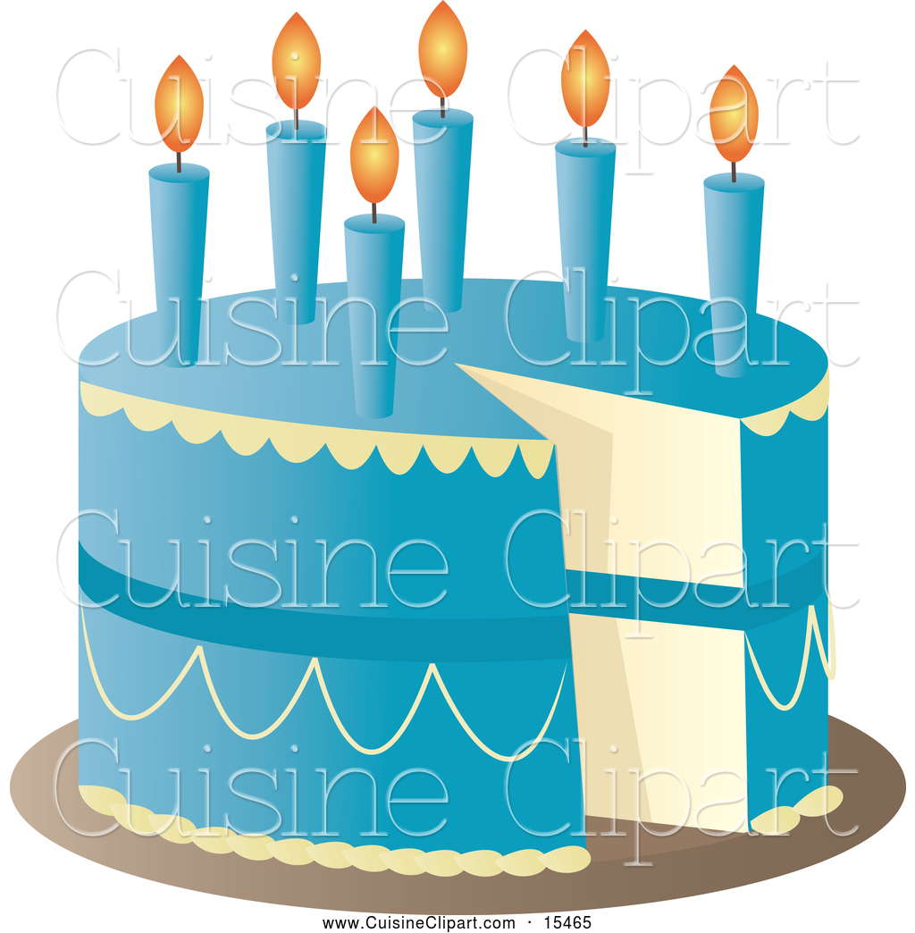 Cuisine Clipart of a Blue Birthday Cake with Candles and a ...