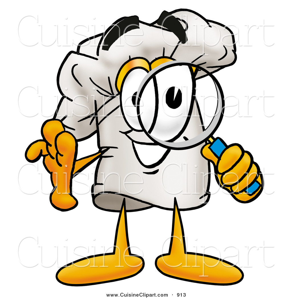 cuisine clipart of a chefs hat mascot cartoon character looking