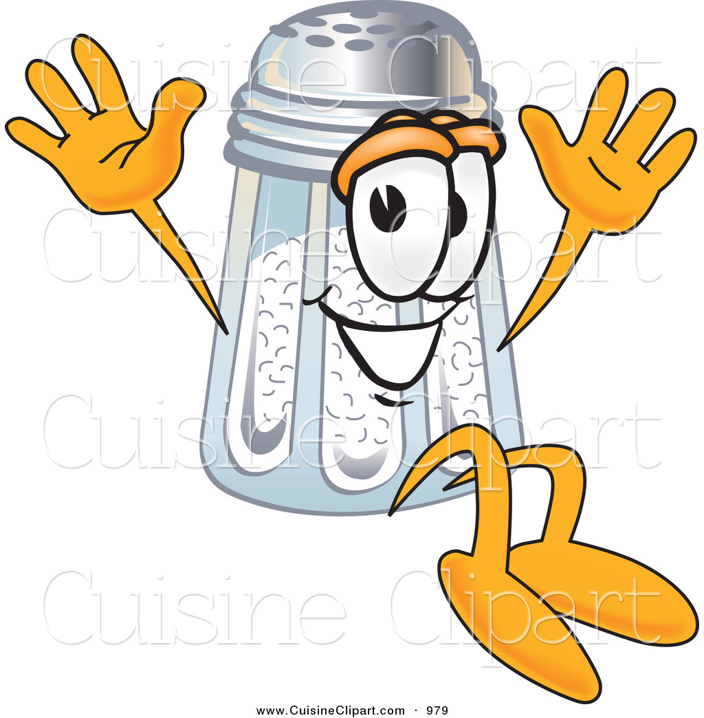 Cuisine Clipart of a Cute Salt Shaker Mascot Cartoon Character Jumping ...