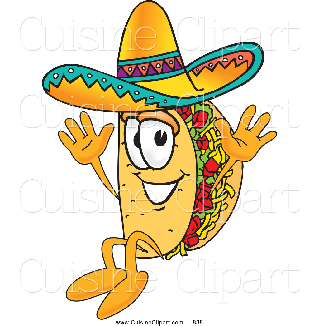 Cuisine Clipart of a Cute Taco Mascot Cartoon Character Jumping by ...