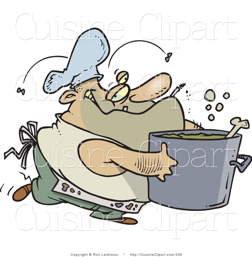 Messy Kitchen Cartoon: Cuisine Clipart Of A Dirty Chubby And Stinky Male Cook