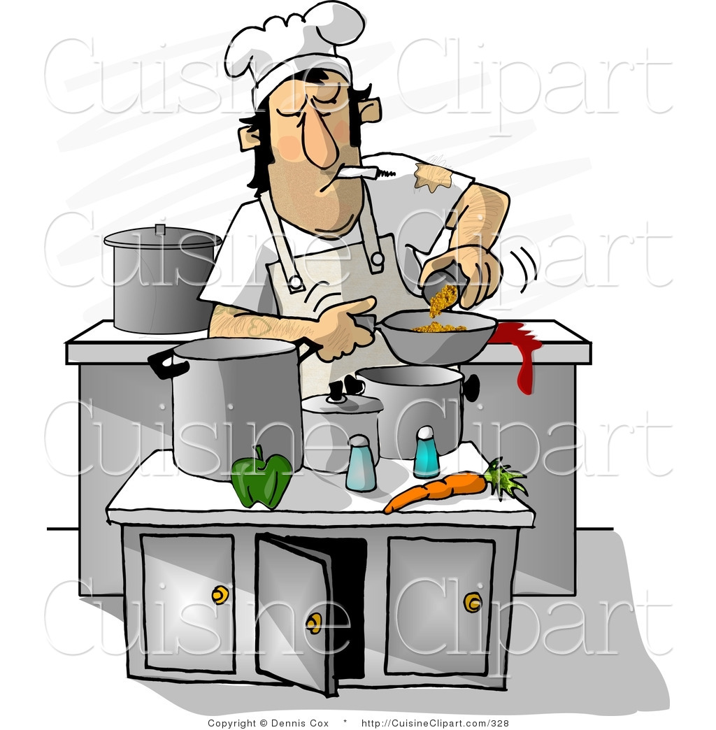 Cuisine clipart of a dirty cook smoking while cooking in a for Art cuisine stone cookware