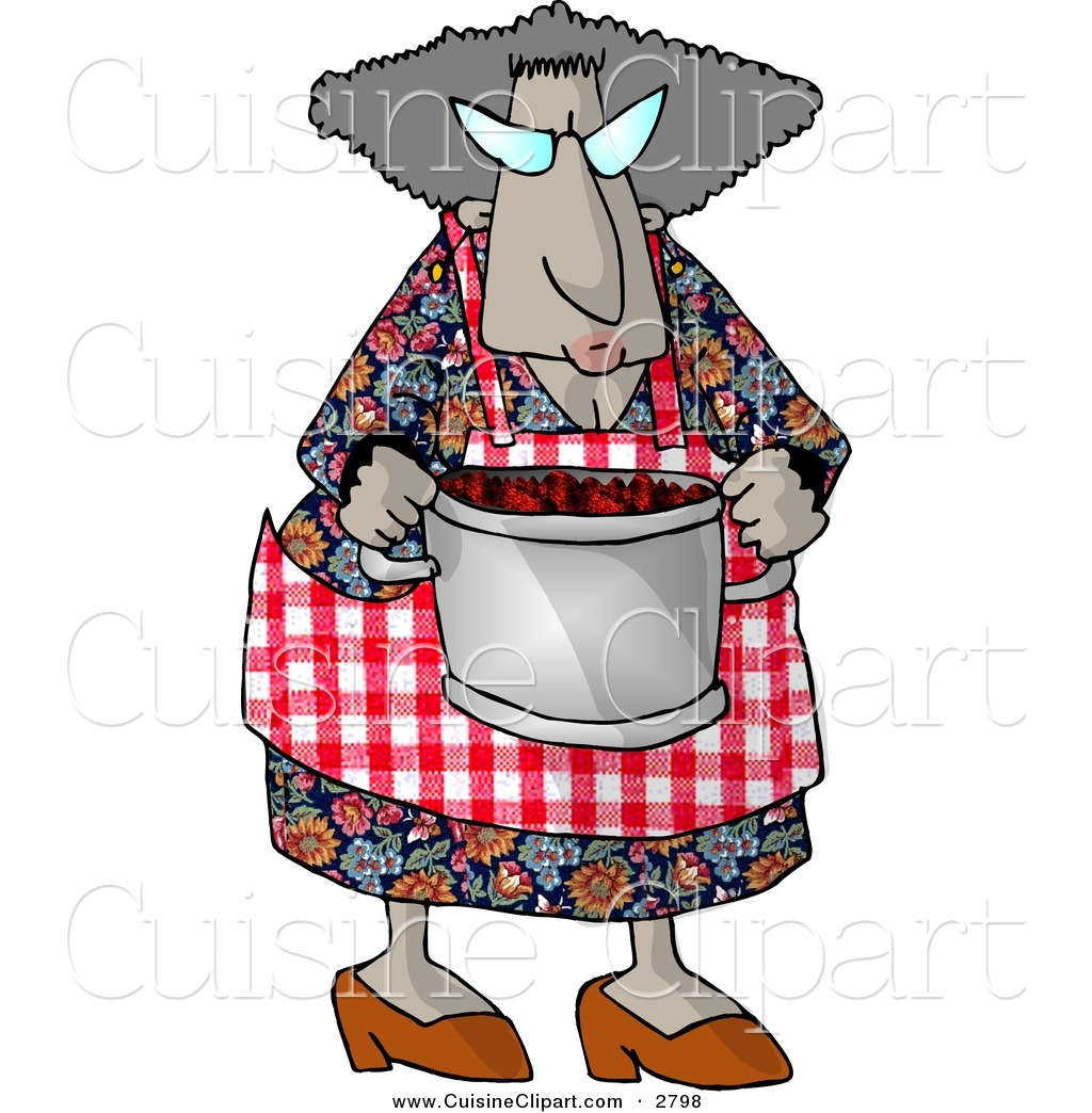 Cuisine clipart of a grandma carrying a cooking pot full for Art cuisine cookware