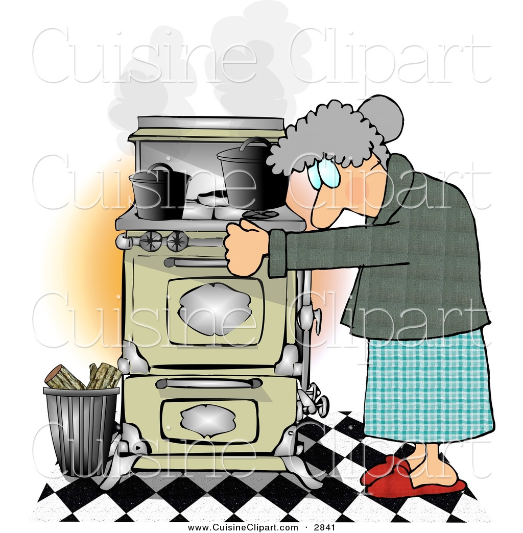 Cuisine clipart of a gray haired elderly woman cooking for Art cuisine cookware