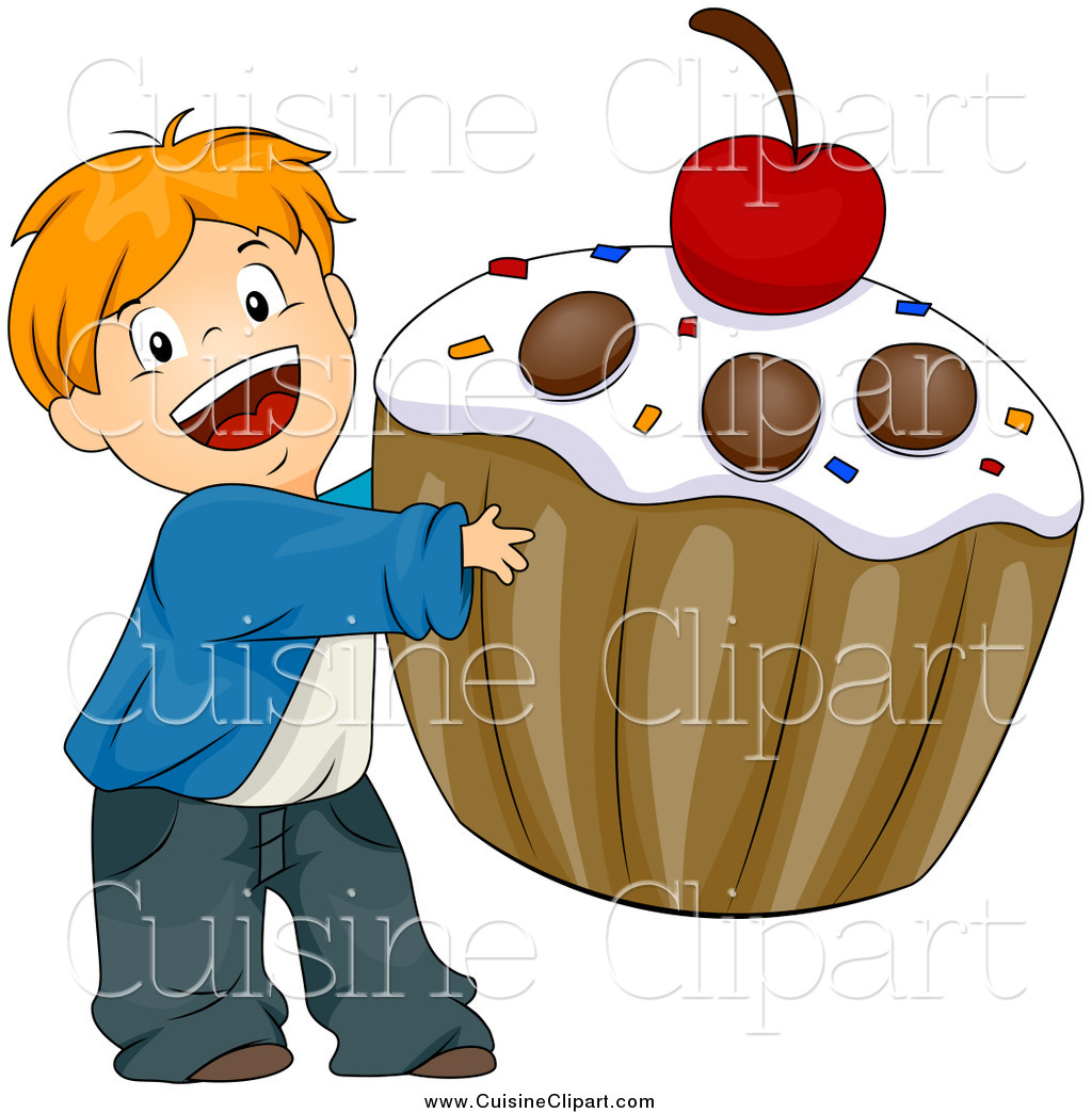 Cuisine clipart of a happy white boy carrying a giant cupcake by bnp design studio 6179 - Cuisne design ...