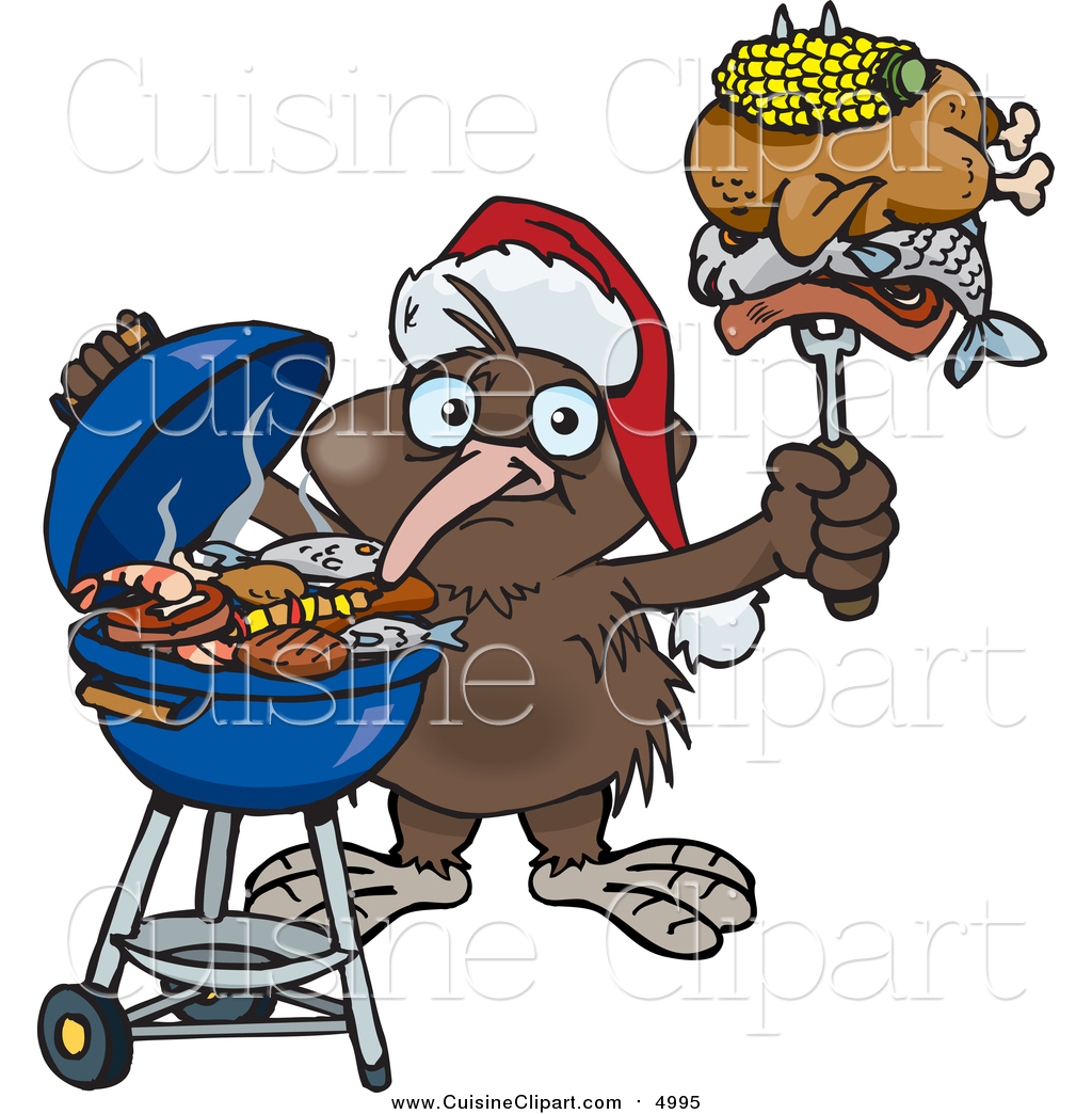 Cuisine Clipart Of A Kiwi Bird Wearing A Santa Hat And