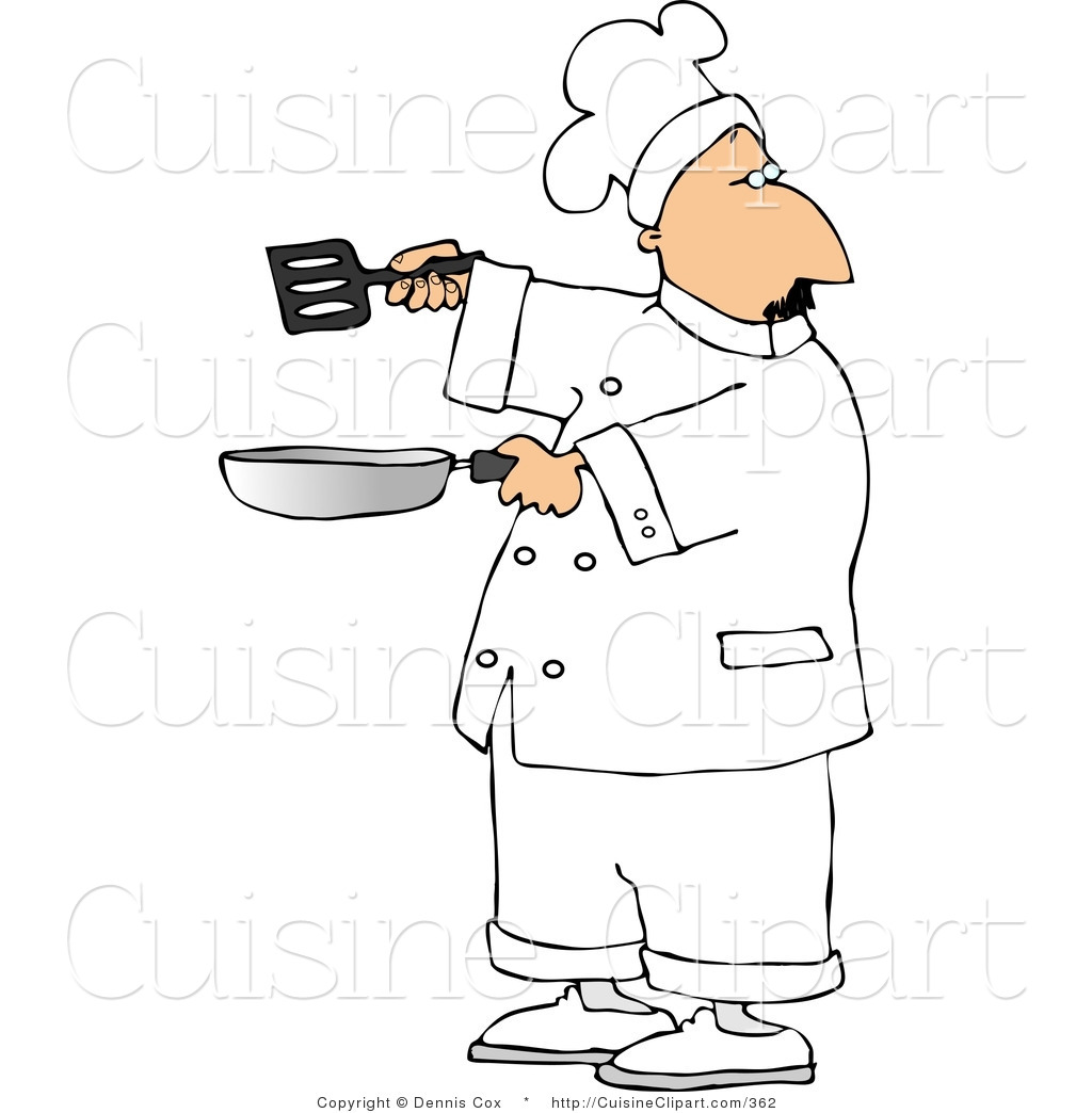 Cuisine Clipart of a Male Chef Holding a Frying Pan and Spatula by ...