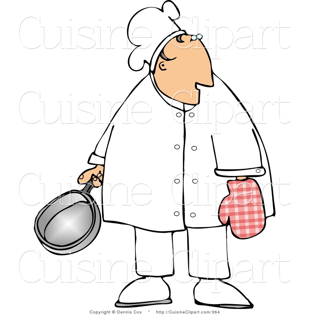 Cuisine clipart of a male cook wearing an oven mitten and for Art cuisine cookware