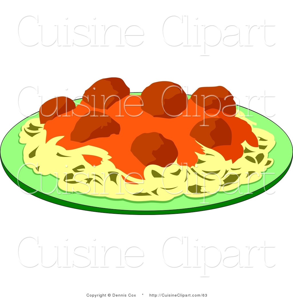 Cuisine clipart of a plate of spaghetti and meatballs by for Art de cuisine plates