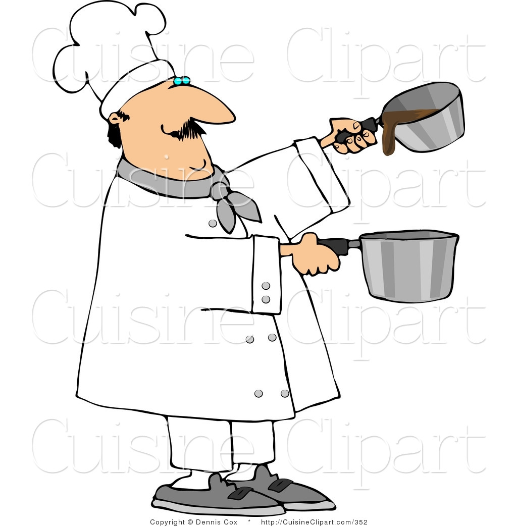 Cuisine clipart of a professional male cook making gravy for Art cuisine stone cookware