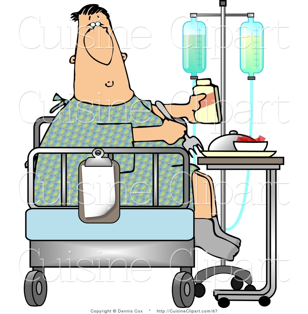 Cuisine Clipart of a Recovering Sick Hospitalized Patient Eating Lunch ...