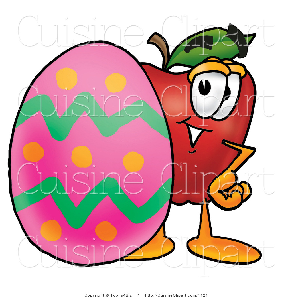 cuisine clipart of a red apple character mascot standing behind an