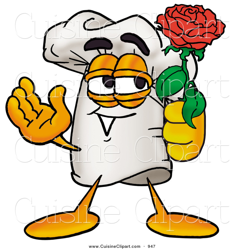 cuisine clipart of a romantic white chefs hat mascot cartoon