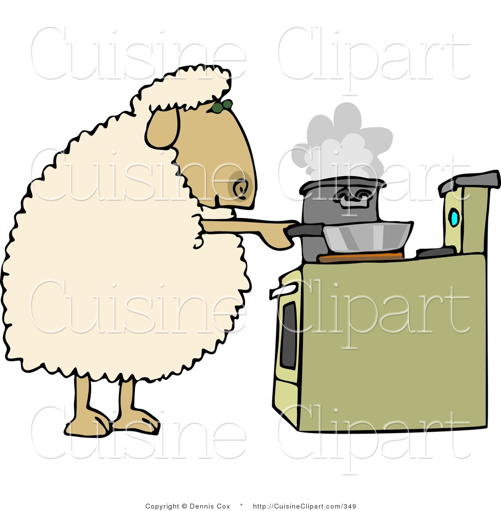 Cuisine clipart of a sheep cooking dinner in pots on a for Art and cuisine cookware review