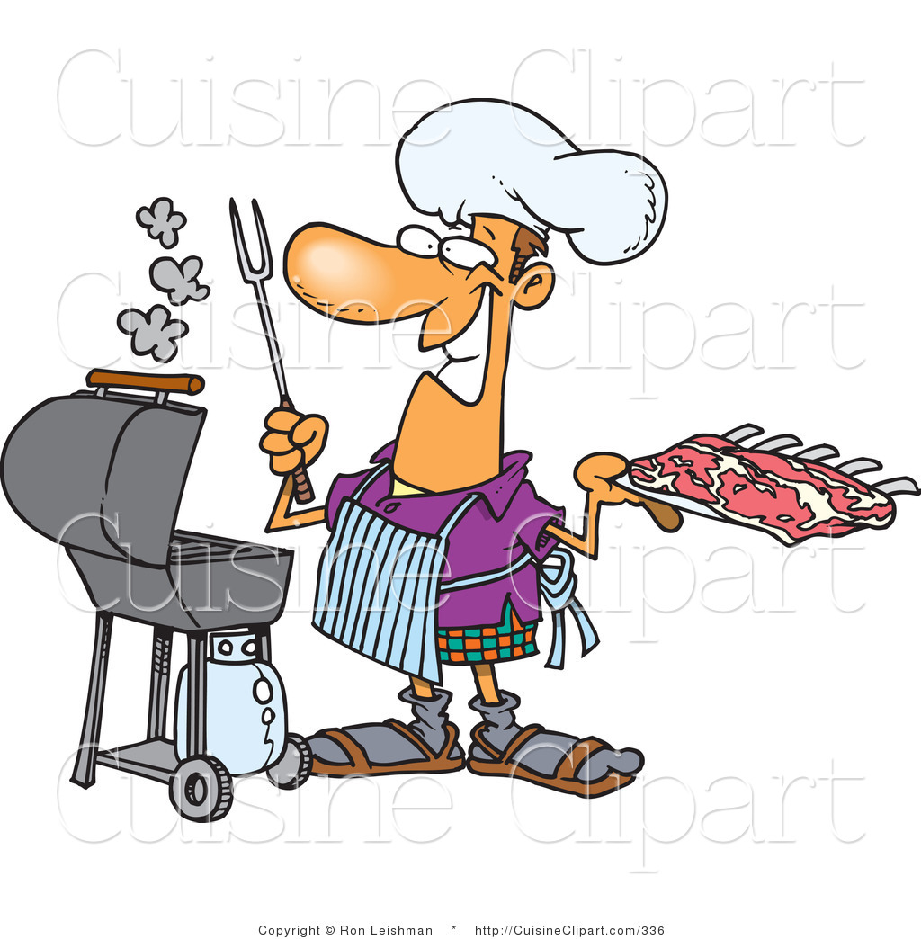 cuisine clipart of a smiling man preparing to barbeque ribs on a
