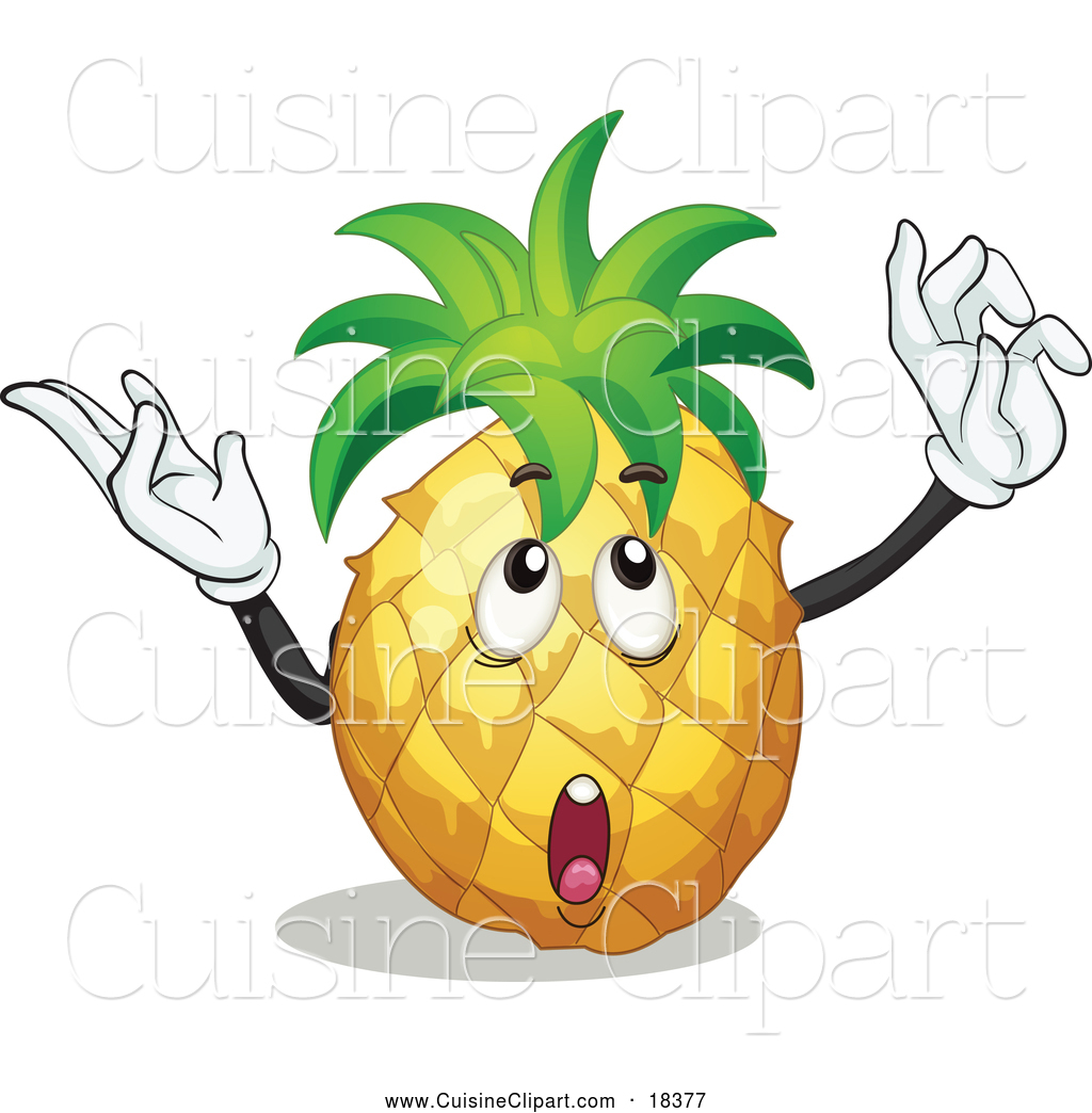 Cuisine Clipart Of A Thinking And Gesturing Pineapple By