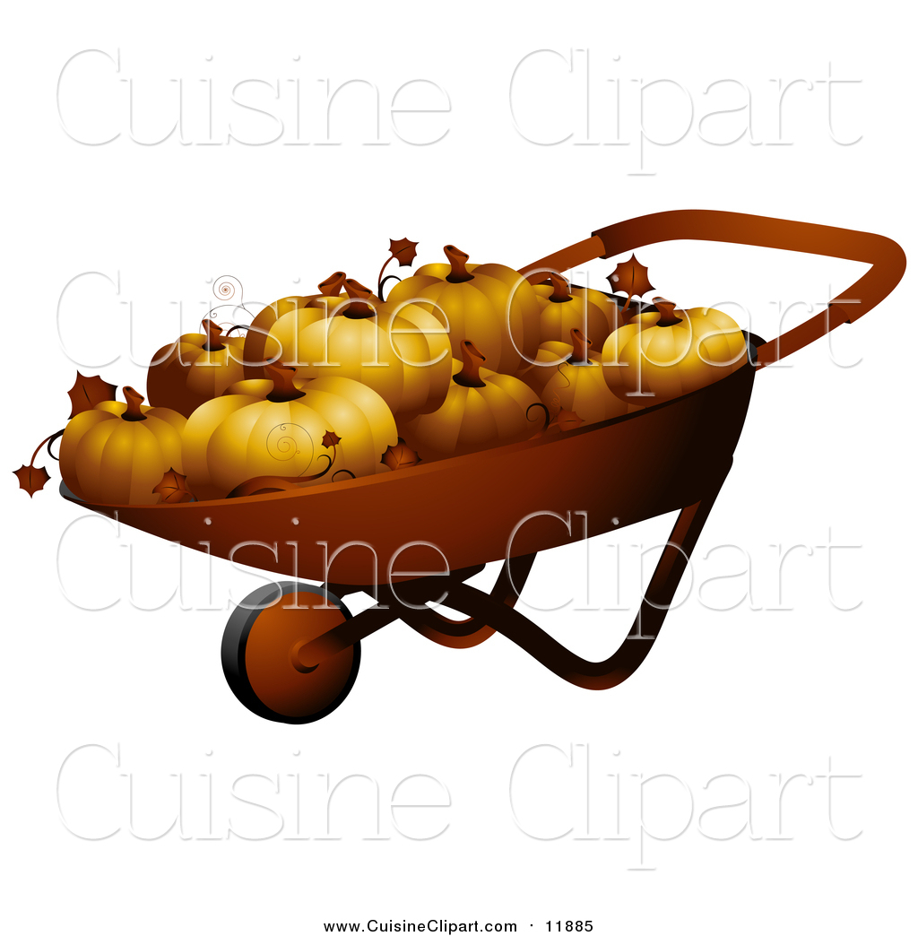 Cuisine clipart of a wheel barrow full of p3d umpkins by bnp design studio 11885 - Cuisne design ...