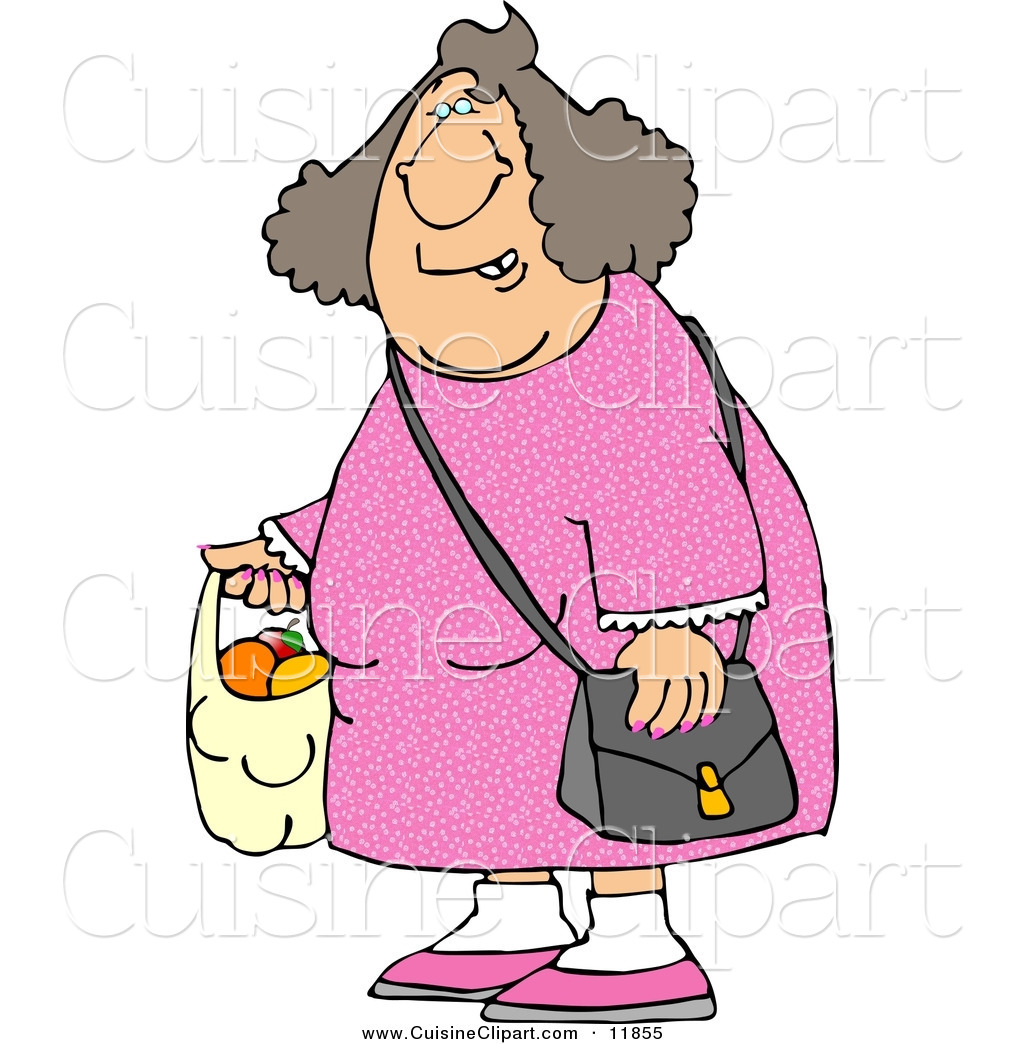 Cuisine Clipart of a Woman Carrying a Plastic Bag Full of Fruit to ...