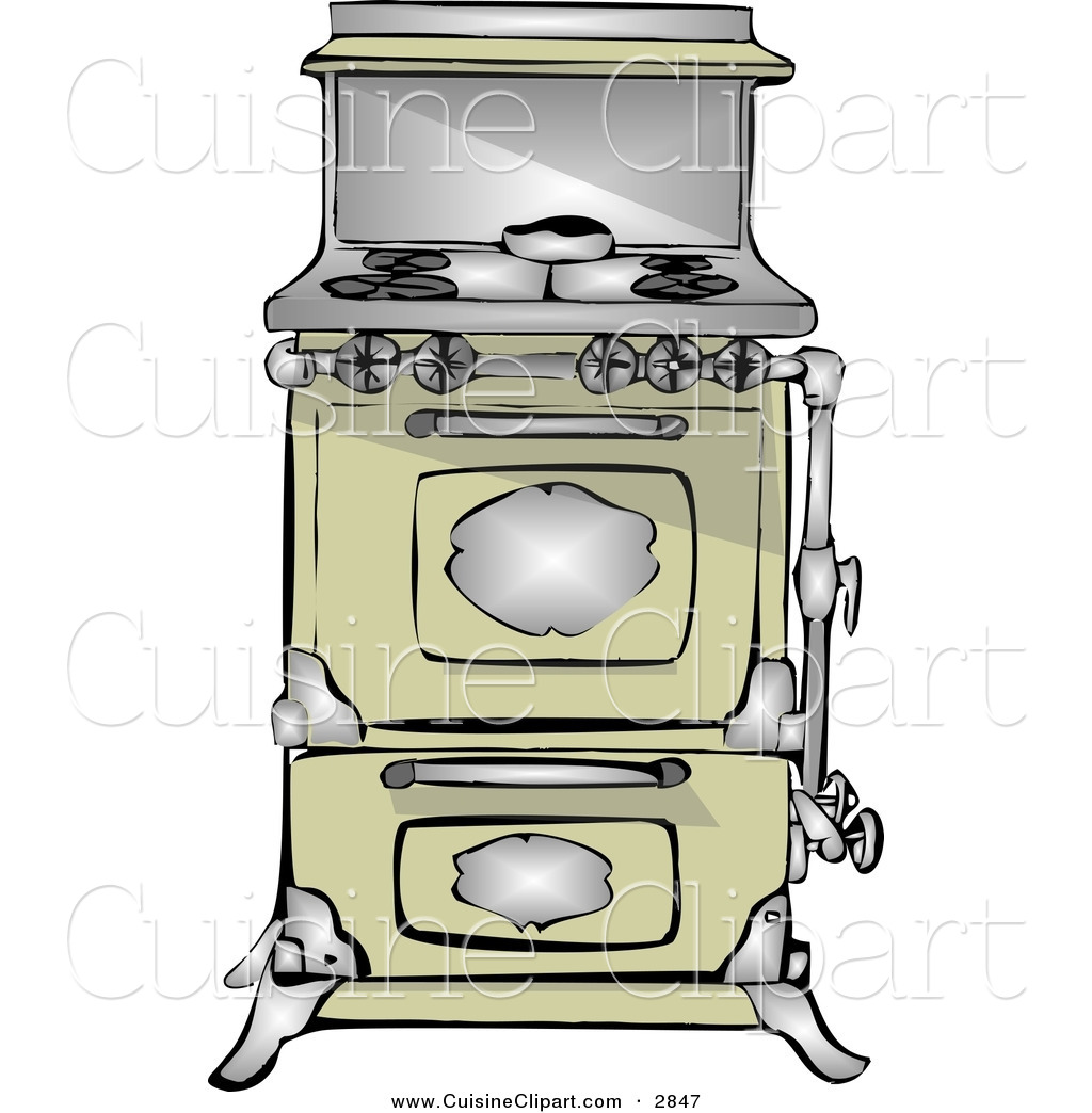 Cuisine clipart of an antique retro kitchen stove and oven for Art and cuisine cookware review