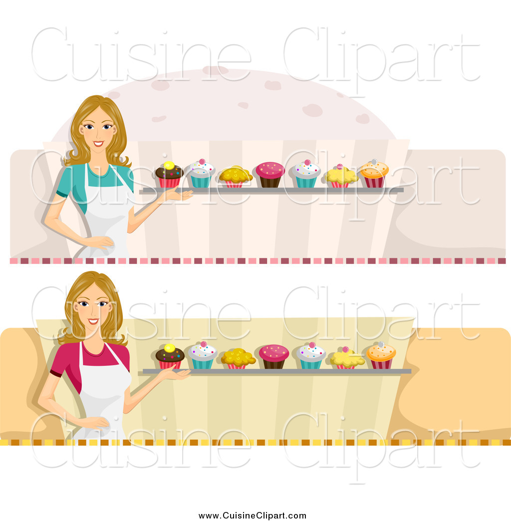 Cuisine clipart of female cupcake baker website banners by bnp design studio 7730 - Cuisne design ...