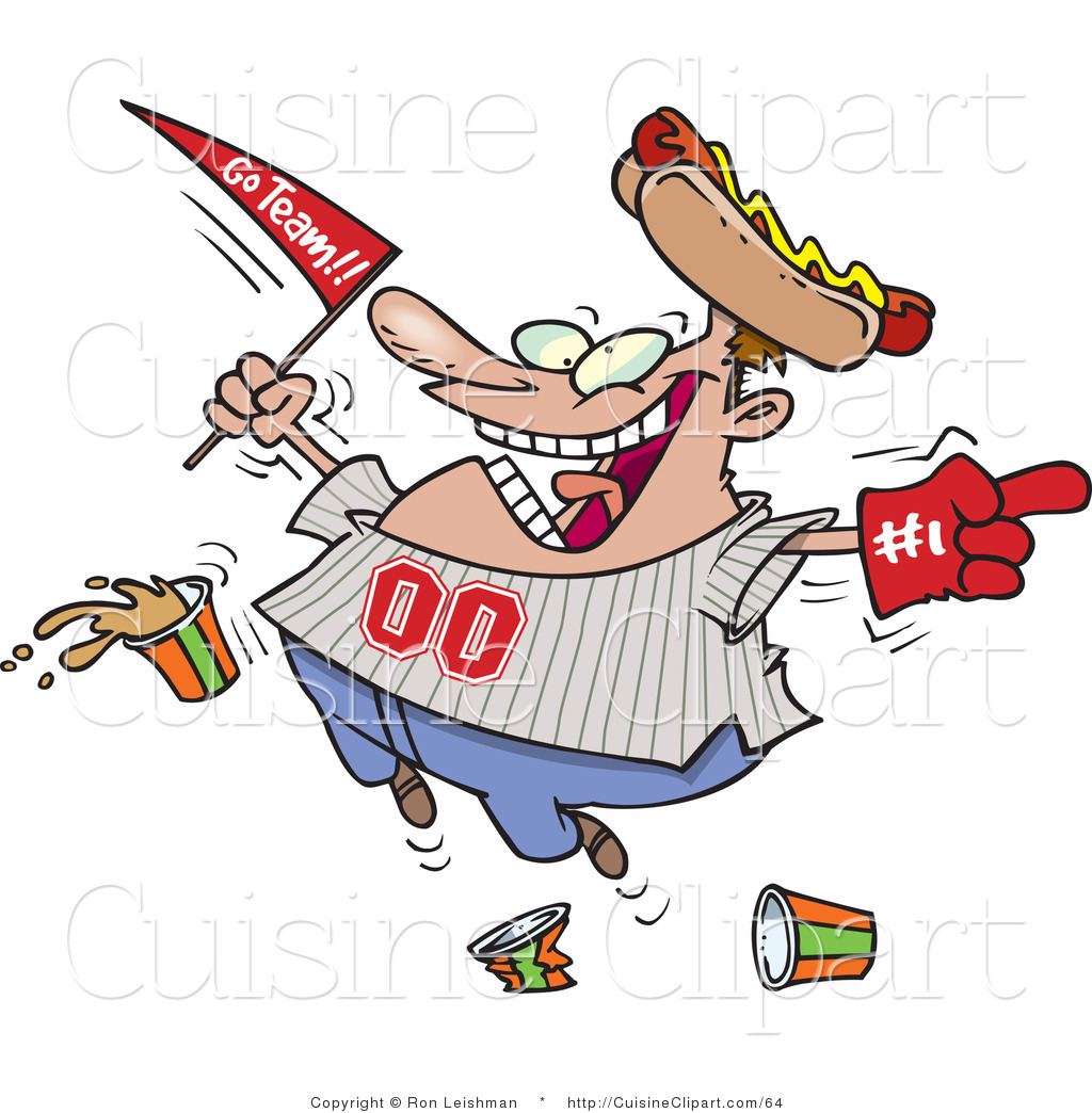 sports fan clipart. cuisine vector clipart of a happy sports fan dropping food n