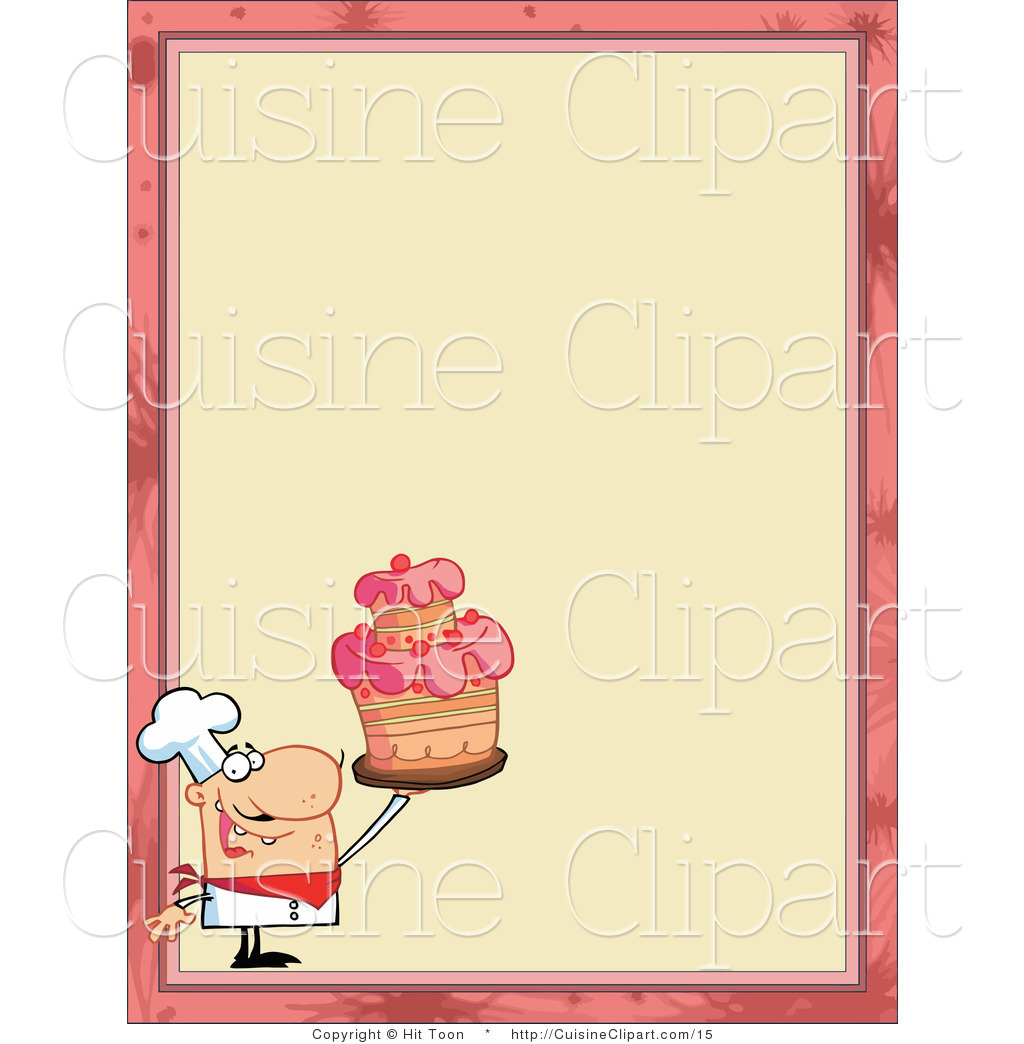 Cuisine vector clipart of a menu border with a chef for Artistic cuisine menu