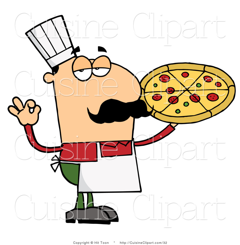 Pizza Chef Vector Pizza Chef Holding up His