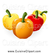 Cuisine Clipart of 3d Colorful Bell Peppers by AtStockIllustration