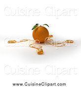Cuisine Clipart of 3d Computer Mice Wired to an Orange by Frank Boston