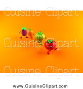 Cuisine Clipart of 3d Tomato, Bell Pepper, Carrot and Eggplant Characters Marching over Orange by Julos