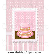 Cuisine Clipart of a 3d Cake over Pink Polka Dots and Stripes by Elaineitalia