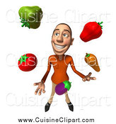 Cuisine Clipart of a 3d Casual Caucasian Man Juggling Veggies by Julos