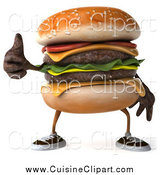 Cuisine Clipart of a 3d Cheeseburger Character Holding a Thumb up by Julos