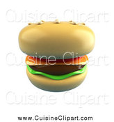 Cuisine Clipart of a 3d Cheeseburger on a Sesame Seed Bun by Julos