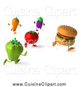 Cuisine Clipart of a 3d Cheeseburger Running Away from Healthy Veggies by Julos