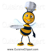 Cuisine Clipart of a 3d Chef Bee Holding a White Plate by Julos