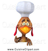 Cuisine Clipart of a 3d Chef Chicken Holding a Thumb up over a Sign by Julos