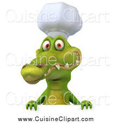 Cuisine Clipart of a 3d Chef Crocodile Smiling over a Sign by Julos