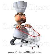 Cuisine Clipart of a 3d Chef Man Pushing a Shopping Cart by Julos