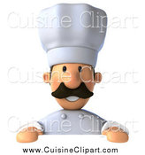 Cuisine Clipart of a 3d Chef over a Blank Sign by Julos