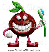 Cuisine Clipart of a 3d Cherry Holding a Toothbrush and Showing His Teeth by Amy Vangsgard