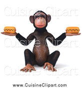 Cuisine Clipart of a 3d Chimp Sitting and Holding Two Hot Dogs by Julos