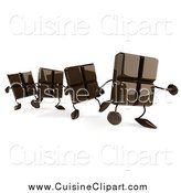 Cuisine Clipart of a 3d Chocolate Bar Characters Walking in a Line by Julos