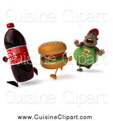 Cuisine Clipart of a 3d Chubby Black Man Running After Unhealthy Foods by Julos
