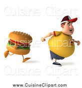 Cuisine Clipart of a 3d Chubby Man Running from a Cheeseburger by Julos