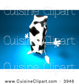 Cuisine Clipart of a 3d Cow Patterned Milk Carton on Blue by Julos