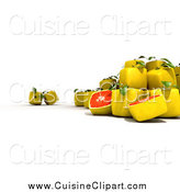 Cuisine Clipart of a 3d Cubic Genetically Modified Grapefruit by Frank Boston