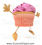 Cuisine Clipart of a 3d Cupcake with Pink Frosting and Red Dots, Facing Slightly Right and Jumping by Julos